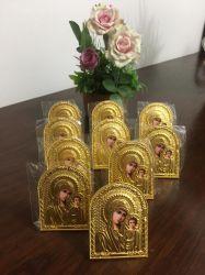 Ícone da Theotokos em metal dourado trabalhado